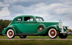 Picture the sky, clouds, retro, lights, grille, sedan, radiator