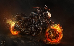 Wallpaper motorcycle, bike, ghost rider, Ghost rider 2, Yamaha V max, spirit of vengeance
