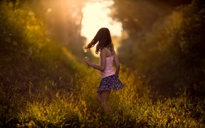 Picture girl, child, grass, bokeh, nature