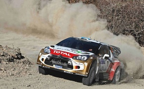 Picture Auto, Dust, Sport, Machine, Turn, Race, Citroen, The hood, Citroen, Lights, DS3, WRC, Rally, Rally, …
