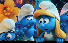 Wallpaper Sony Pictures Animation, dwarf, hana, 2017, boy, hat, Columbia Pictures, forest, family, official wallpaper, Smurfs, ...