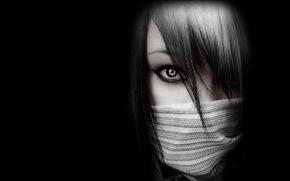 Picture eyes, black, girl, emo