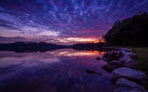 Picture the sky, water, clouds, sunset, nature, stones, the evening, Lake