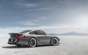 Wallpaper desert, Porsche, silver, Porsche, Blik, rear, silvery, 991, Widebody, 996, Top Secret, aerodynamic kit, SSR