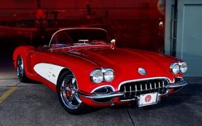 Picture red, tuning, hangar, corvette, twilight, Chevrolet, drives, classic, chevrolet, tuning, the front, custom, Corvette, custom, …