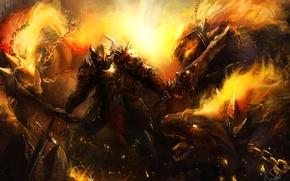 Wallpaper weapons, chain, art, warrior, armor, dragon war, dragon, sword, fiction, fire