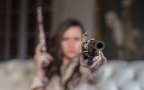 Picture girl, gun, weapons, background