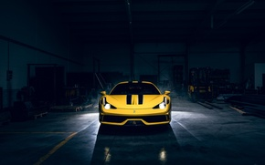 Wallpaper Garage, Yellow, Ferrari, 458, Dark, Supercar, Speciale, Front, Light