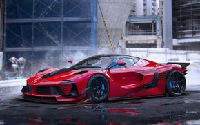 Picture Ferrari, Red, Hot, Color, Rendering, Supercar, LaFerrari, by Khyzyl Saleem