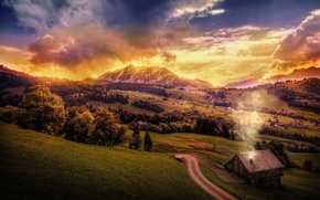 Picture road, clouds, mountains, house, hills, treatment