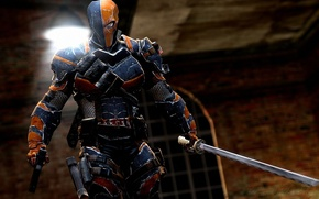 Picture gun, sword, mask, armor, cartridges, grenades, mercenary, assassin, clip, antihero, Batman: Arkham Origins, Warner Bros. ...