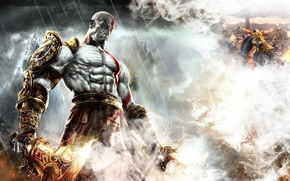 Picture fire, flame, sword, armor, god of war, kratos, god of war 3, ps3, god, strong, ...