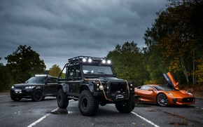 Picture Jaguar, three, Land Rover, Defender, C-X75, 2015, 007 Spectre