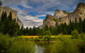 Picture forest, the sky, clouds, trees, mountains, stones, rocks, waterfall, CA, USA, river, the bushes, Yosemite ...