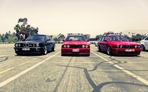 Picture street, BMW, BMW, red, black, trio, street, E34, E30, The 3 series, 325i, red. black