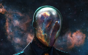Picture space, stars, nebula, people, the suit, mask, helmet