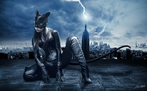 Picture girl, night, the city, lightning, mask, costume, tail, ears, Catwoman, Catwoman