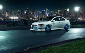 Picture car, night, the city, tuning, tuning, evo x, mitsubishi lancer