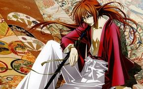 Picture pattern, katana, red, sitting, scar, art, swordsman, Samurai X, Rurouni Kenshin, Himura Kenshin, Nakajima Atsuak, …