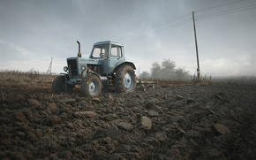 Picture field, the sky, tractor, Belarusian