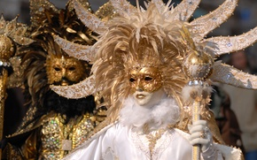 Wallpaper Venice, gold, white, mask, costumes, black, photo, carnival