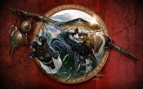 Picture paw, Panda, staff, leaves, World of Warcraft: Mists of Pandaria