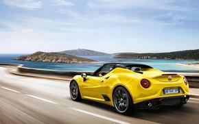Picture Speed, Yellow, Alfa Romeo 4c, Alfa Romeo 4C Spider, Alfa Spider, Alfa 4c, Alfa 4C …