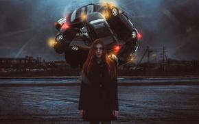 Picture auto, girl, art, metamorphosis, tire