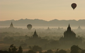 Wallpaper balls, Fog, mountains