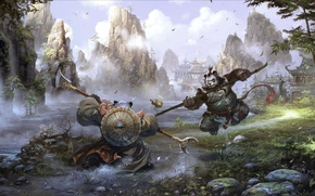Picture Mists of Pandaria, kung fu, Asia, mountains, art, leaves, battle, building, rocks, river, weapons, waterfall, …