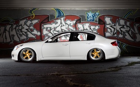 Picture graffiti, Infiniti, white, stance, air ride, air suspension, G35x, bagged
