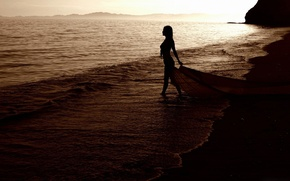 Picture wave, beach, summer, girl, the evening, Mooore