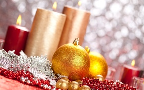 Picture holiday, balls, toys, new year, candles, beads, the scenery, happy new year, christmas decoration, Christmas …