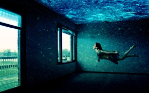 Picture girl, room, Windows, Under water