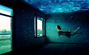 Wallpaper room, Under water, girl, Windows