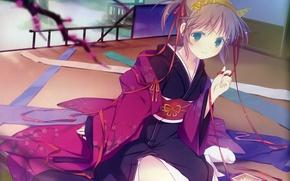 Picture tape, room, kimono, blue eyes, art, horns, box, visual novel, ruroo, yoake mae yori ruri …