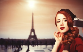 Picture look, girl, background, Paris, the camera, red, red lips