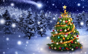 Picture winter, snow, snowflakes, toys, tree, New Year, Christmas, Christmas, winter, snow, tree, decoration, Merry