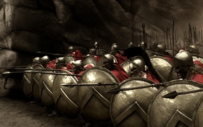 Wallpaper shields, spears, 300, the Spartans