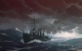 Wallpaper Sea, Figure, Ship, IJN destroyer Amatsukaze