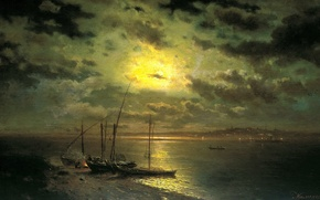 Picture the sky, water, clouds, shore, picture, boats, painting, the fire, Kamenev, moonlit night on the …