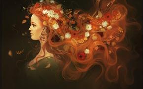 Picture autumn, girl, art, Alexander Khitrov, GaudiBuendia
