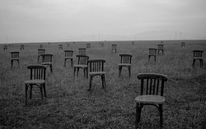 Picture field, loneliness, photo, chairs
