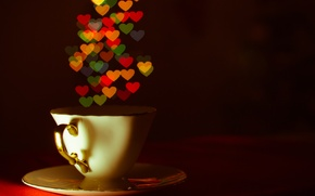 Picture heart, Cup, saucer, bokeh
