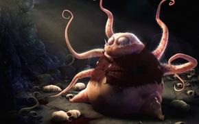 Wallpaper monster, tentacles, larvae
