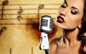 Picture Girl, Brunette, Model, Background, Singer, Makeup, Microphone, Sheet Music