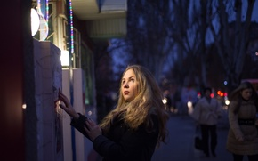 Picture eyes, look, girl, light, face, street, the evening, blonde, beautiful
