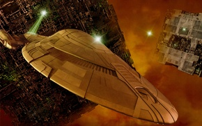 Picture space, ship, base, iron, Voyager, conflict