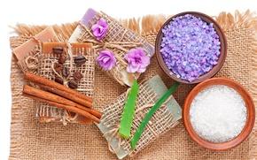 Picture flowers, soap, salt, lavender, Spa, coffee, natural, cloth, soap, relax, spa, aloe, bath salt