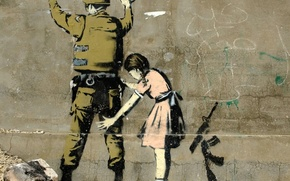 Picture Graffiti, Banksy, Girl Searching a Soldier